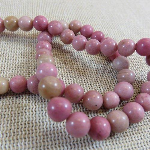 lot de 30 perles en rhodonite  6 mm  gemme naturel