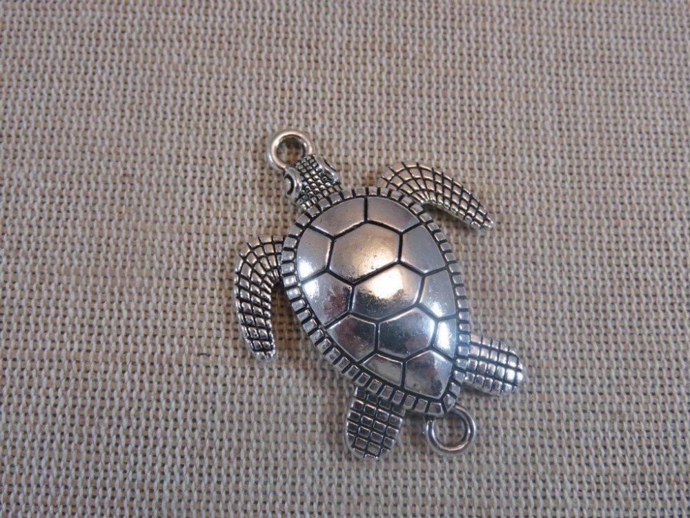 Pendentifs connecteur tortue de mer lot de 2 pendentifs en métal couleur argenté 44mm x 33mm