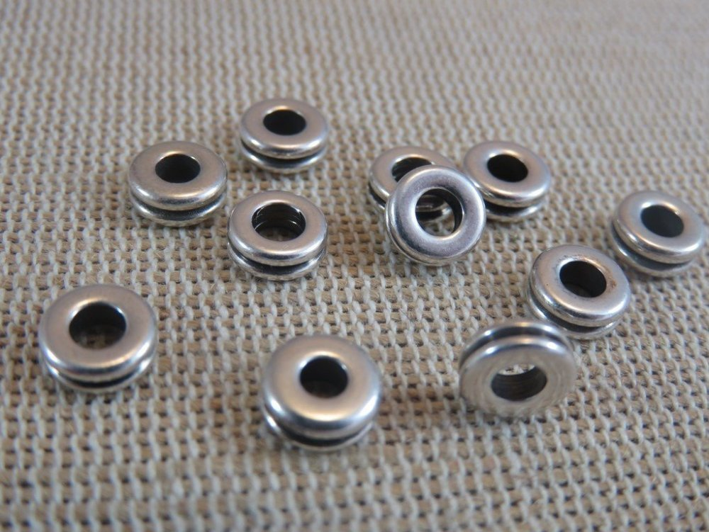 Perles rondelle donuts 6mm argenté - lot de 20