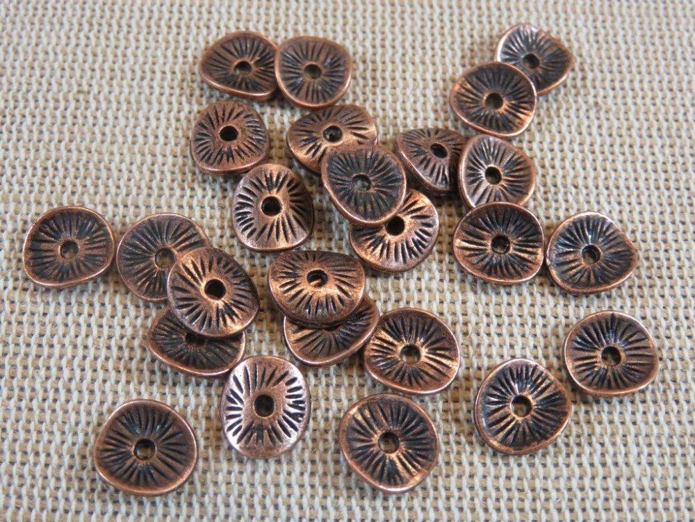 20 cuivre métal perles avec œillets