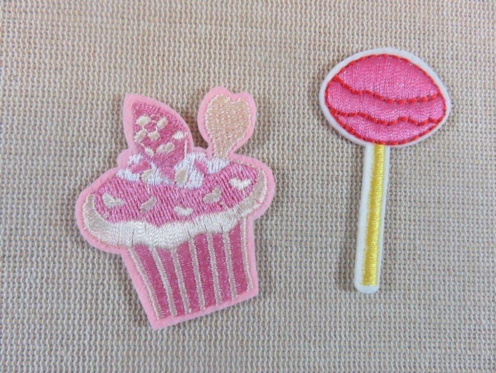 Patchs gâteau et sucette rose thermocollant appliqué écusson embellissement