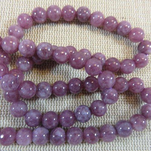Perles lépidolite 6mm ronde pierre de gemme - lot de 15