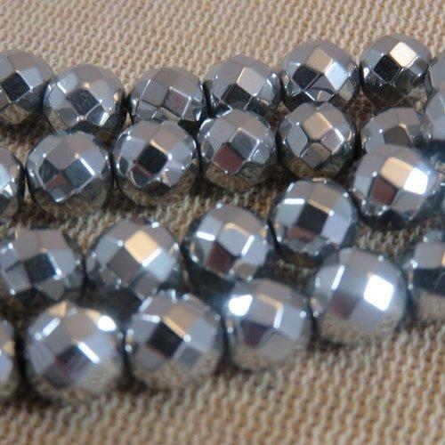 Perles hématite facette 8mm couleur argenté - lot de 10