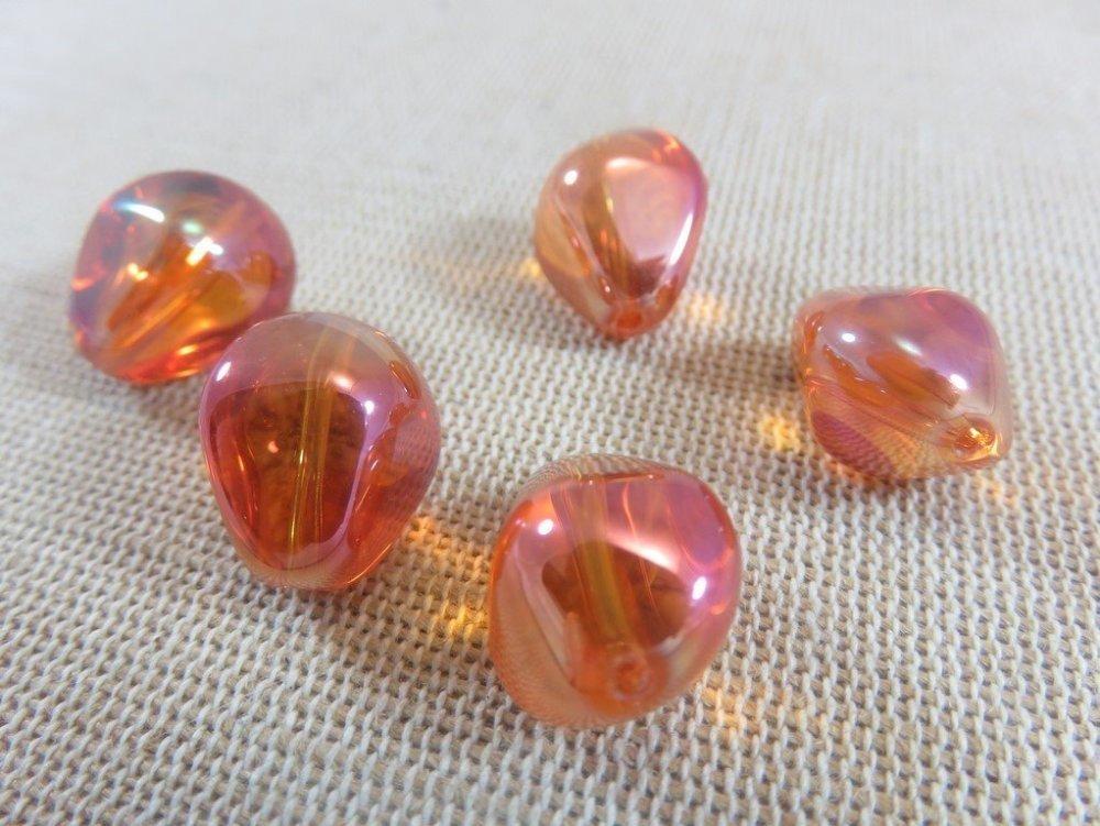 lot de 100 perles forme  LARME  GOUTTE VERRE DE BOHÈME rose