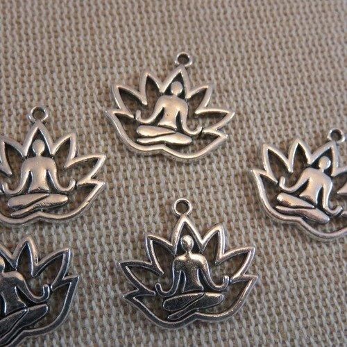 Pendentifs yoga fleurs lotus bouddha argenté - lot de 10