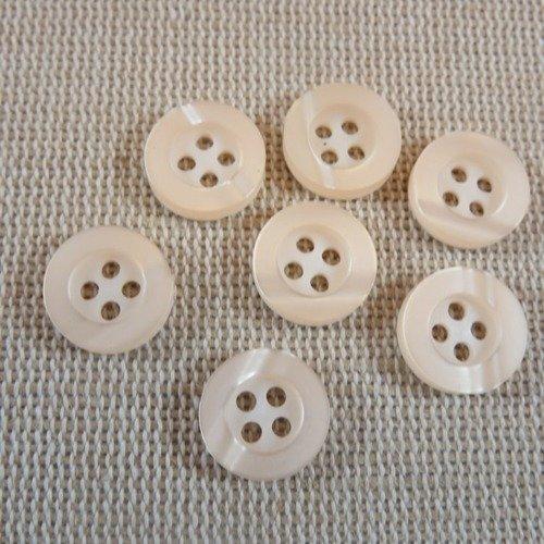20 Boutons Ronds en Bois 11mm Couleur Naturelle Marron 4 Trous Couture