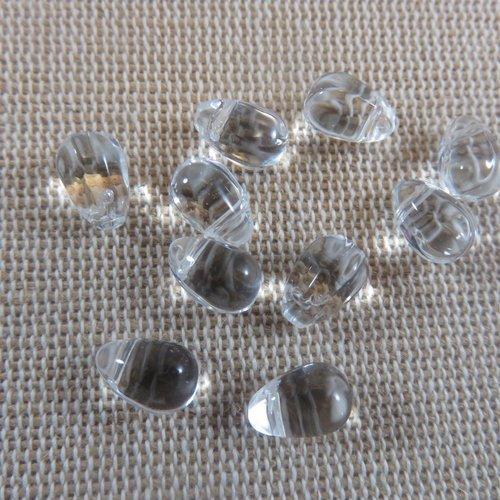 Perles goutte transparente larme en verre 9mmx6mm - lot de 10