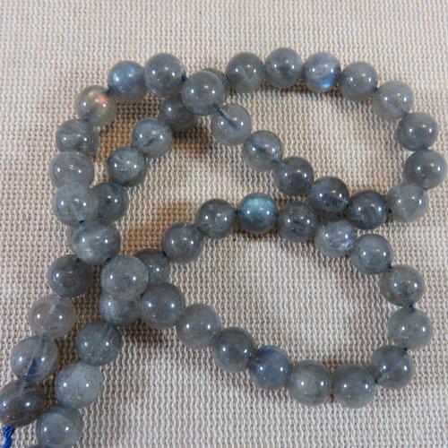 Perles labradorite ronde 8mm pierre de gemme - lot de 10