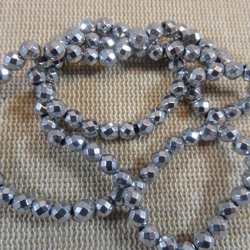 Perles hématite facette 4mm de couleur argenté - lot de 10