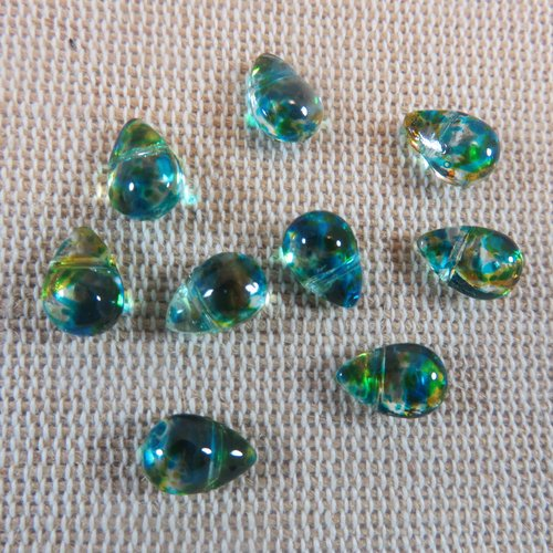 Perles goutte bleu vert larme en verre 9x6mm - lot de 10