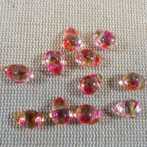 Perles goutte rose orange larme en verre 9x6mm - lot de 10