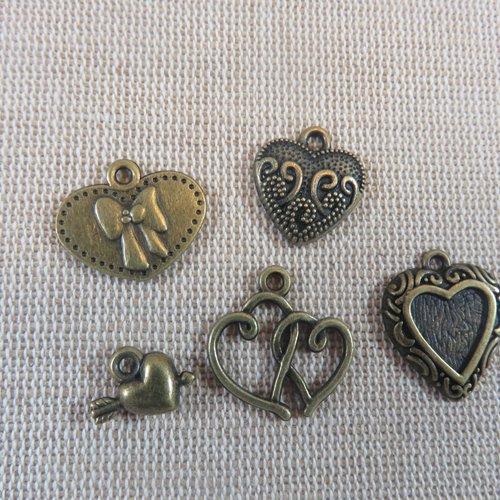 Breloques cœur métal bronze - lot de 5 apprêt bijoux pendentifs romantique