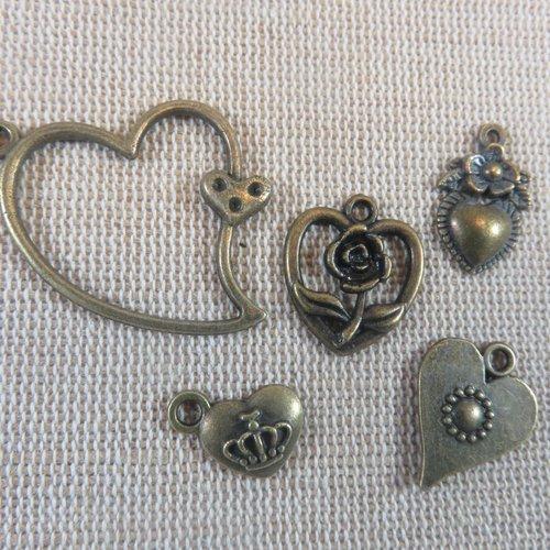 Apprêt bijoux pendentifs cœur métal bronze - lot de 5 breloques romantique