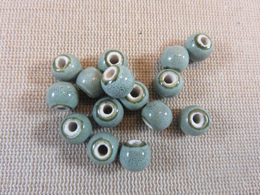 Perles céramique grise 8mm ronde - lot de 10