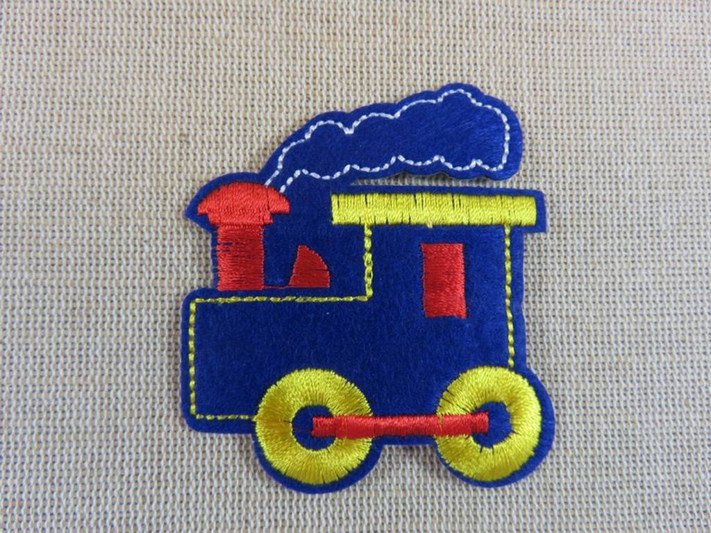 Écusson thermocollant Train bleu Patch Applique brodé