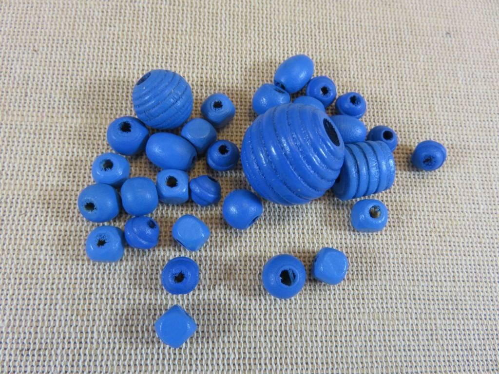 Perles en bois bleu lot de 30 perles en bois bleu diverses forme création bijoux
