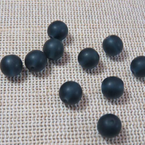 Perles bleu foncé 6mm en verre - lot de 6
