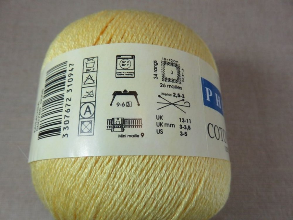 Fil Phildar Coton d'Egypte jaune mimosa pelote Fils 100% coton d'Egypte