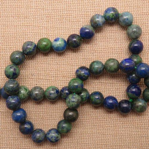 Perles phoenix lapis lazuli malachite 8mm pierre de gemme - lot de 10