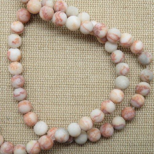 Perles jaspe web rouge mat 6mm pierre de gemme - lot de 10