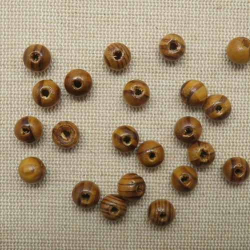 Perles en bois de pin marron clair 8mm - lot de 25
