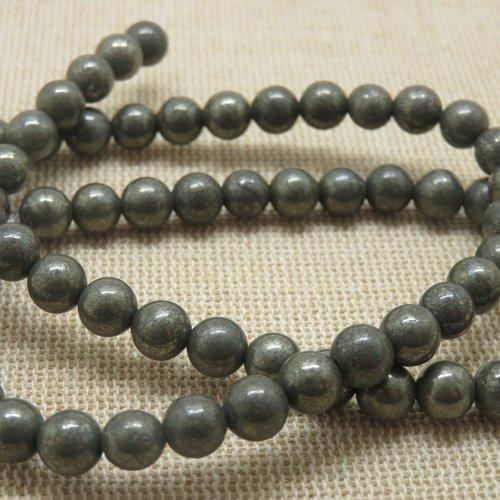 Perles pyrite 6mm  ronde - lot de 10 pierre de gemme
