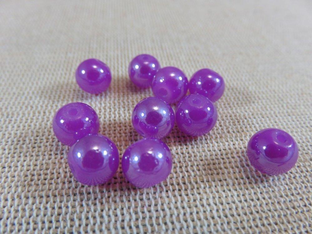Perles en verre violet style nacré 8mm lot de 20 perles ronde