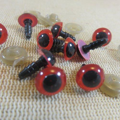 Yeux sécurité rouge 9mm rond amigurumi œils sécurisé - lot de 10