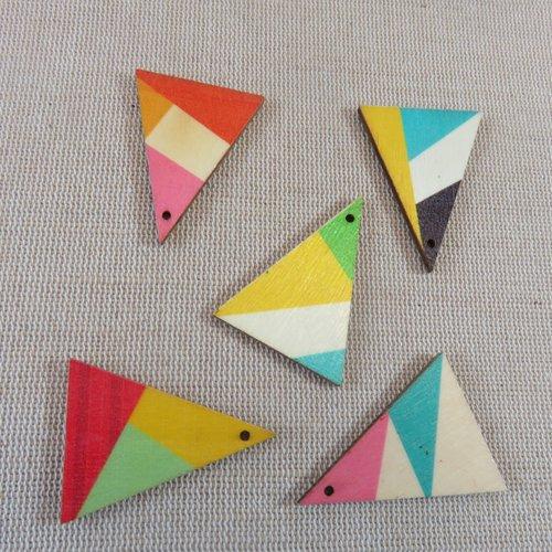 Pendentifs triangle géométrique en bois 39mmx29mm - lot de 4