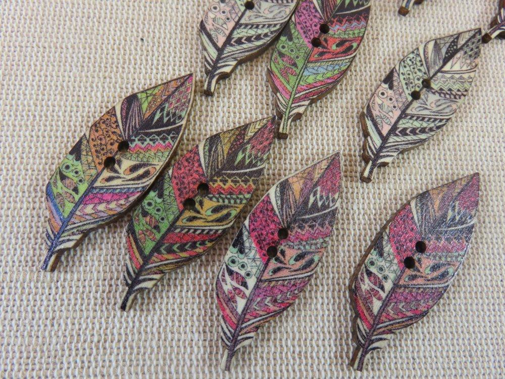 Boutons plume en bois multicolore bouton de couture - lot de 10