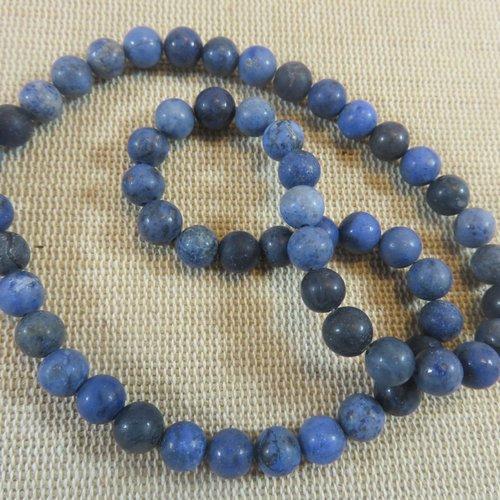 Perles sodalite bleu mat effet givré 6mm pierre de gemme - lot de 10