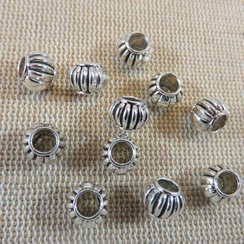 Perles lanterne argenté en métal 8x6mm - lot de 10