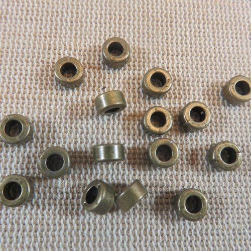 Perles rondelle entretoise métal bronze 6mm - lot de 15