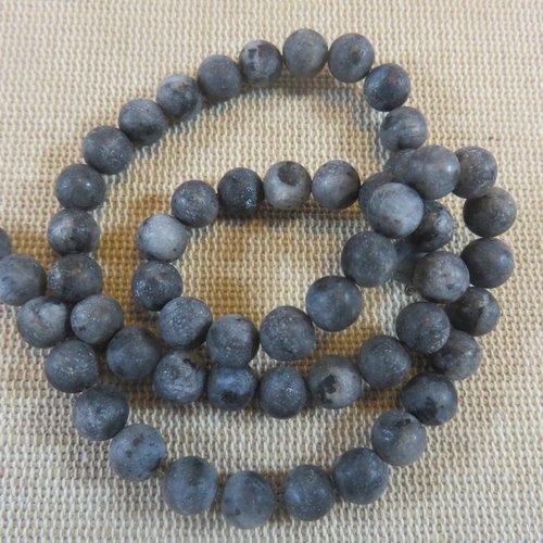 Perles labradorite noir mat 6mm ronde pierre de gemme - lot de 10