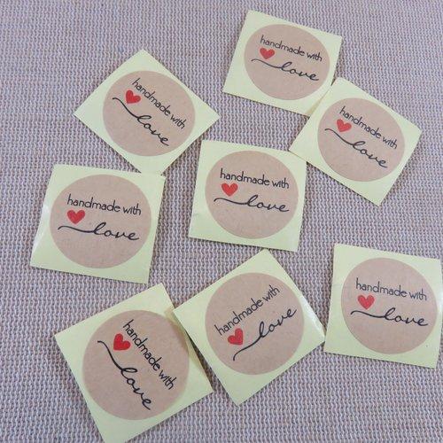 Étiquettes autocollante handmade with love avec cœur rouge - lot de 25
