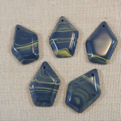 Pendentifs pentagone résine bleu or effet marbré 32mm - lot de 5
