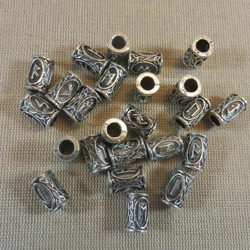 Perle rune viking métal coloris argenté 13x9mm
