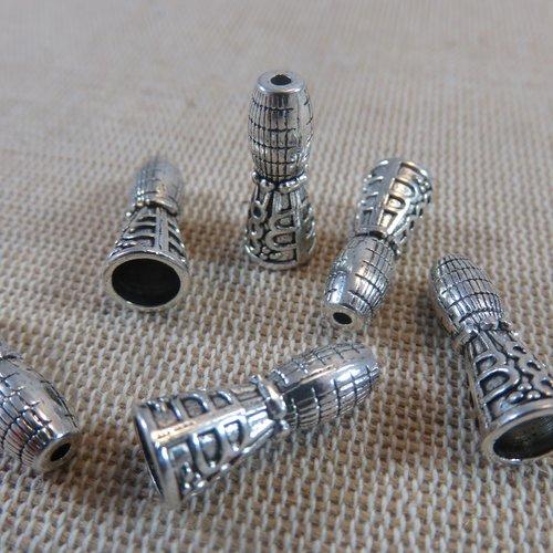 Perles embout de collier bracelet métal coloris argenté 18mmx7mm - lot de 6