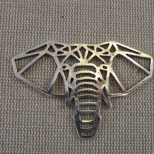 Pendentifs éléphant origami métal coloris argenté - lot de 2