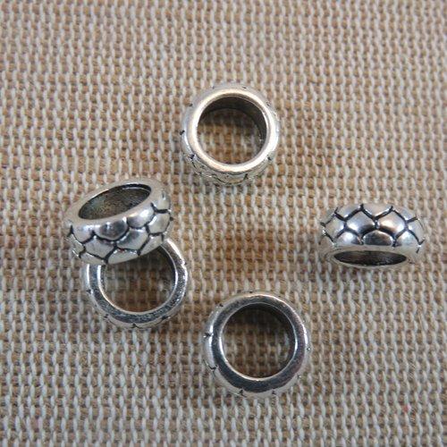 Perles peau de serpent métal coloris argenté 10mm - lot de 5