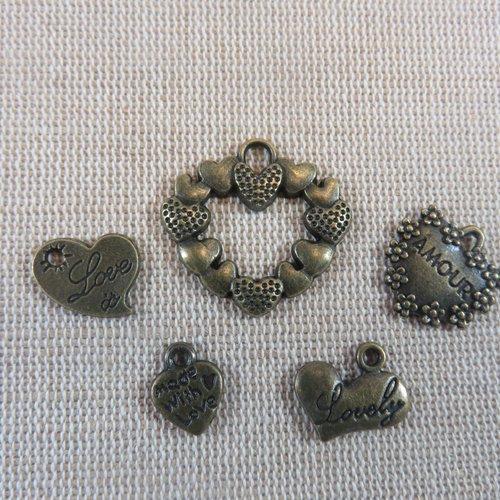 Apprêt bijoux breloques cœur métal bronze - lot de 5 pendentifs romantique