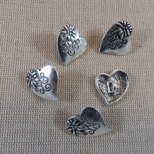 Boutons cœur fleuri métal argenté - ensemble de 5 bouton de couture