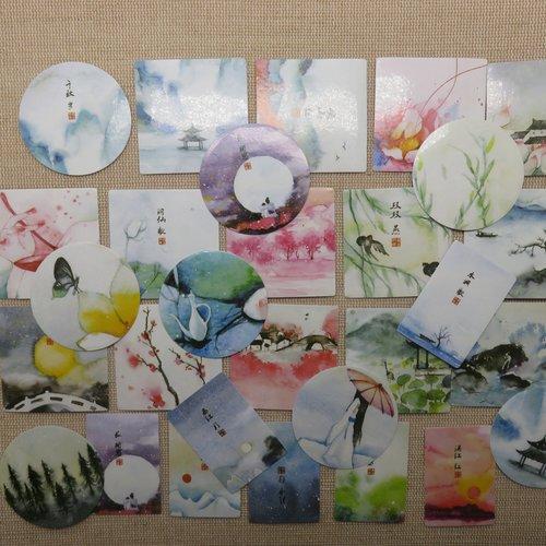 Étiquettes stickers autocollant japon scrapbooking - papier autocollant pour décoration / 40pcs