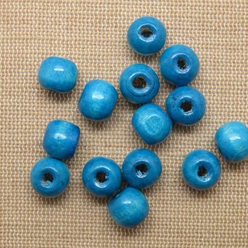 Perles en bois bleu 10mm tambour rond - lot de 15