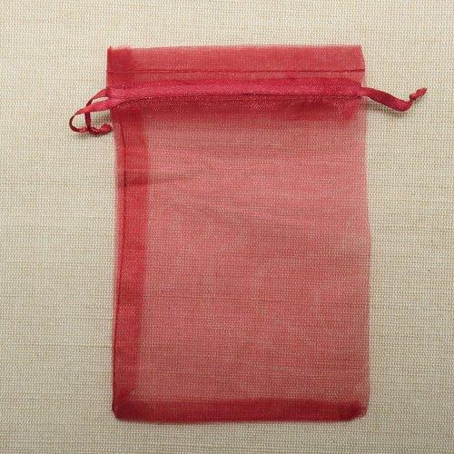 Sachets organza rouge vin 15cm x 10cm - lot de 5