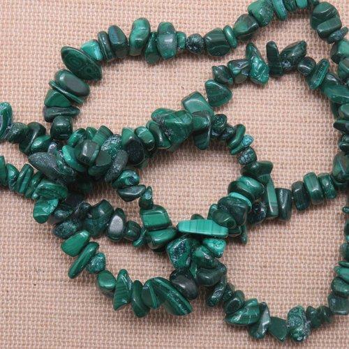 Perles malachite chips irrégulière 5mm à 8mm pierre de gemme - lot de 25