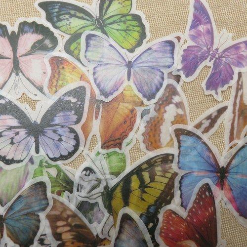 Stickers autocollant papillon scrapbooking - étiquettes papier autocollant / 30pcs