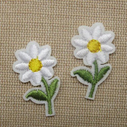 Patch fleur marguerite thermocollant - lot de 2 écusson fleur à repasser