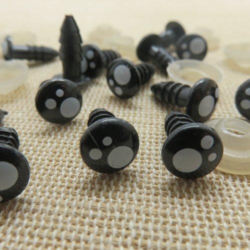 Yeux de sécurité kawaii 8mm rond œils amigurumi - lot de 10