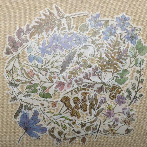 Stickers fleur plante et feuillage scrapbooking - lot de 30 étiquettes papier autocollant